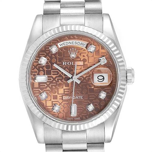 Photo of Rolex President Day-Date 36mm White Gold Diamond Mens Watch 118239 Unworn