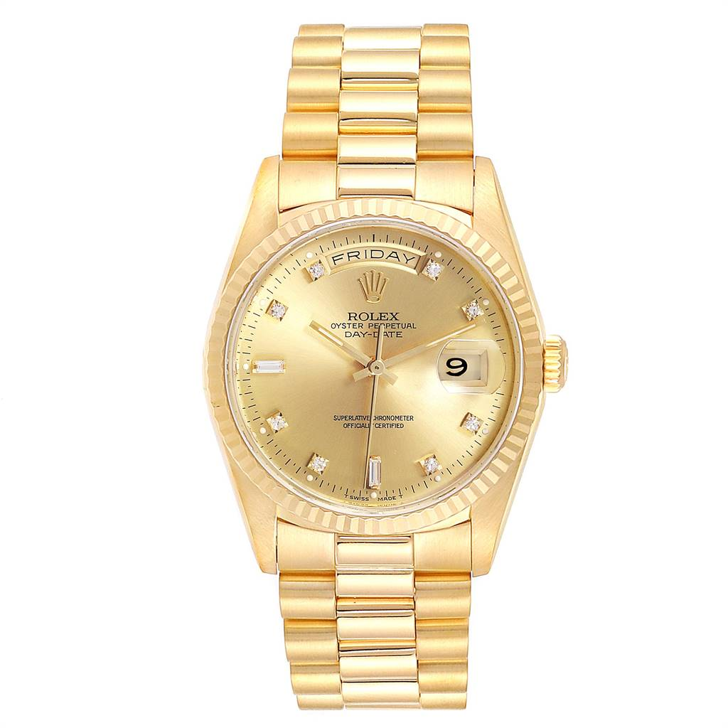Rolex President Day-Date 18k Yellow Gold Diamond Watch 18038 SwissWatchExpo
