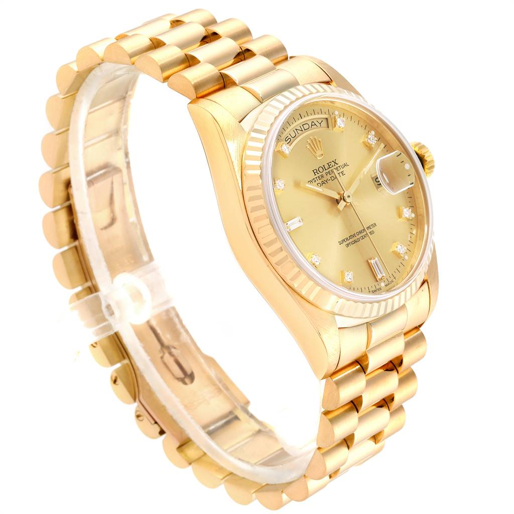 24111 Rolex President Day-Date 18k Yellow Gold Diamond Watch 18038 SwissWatchExpo