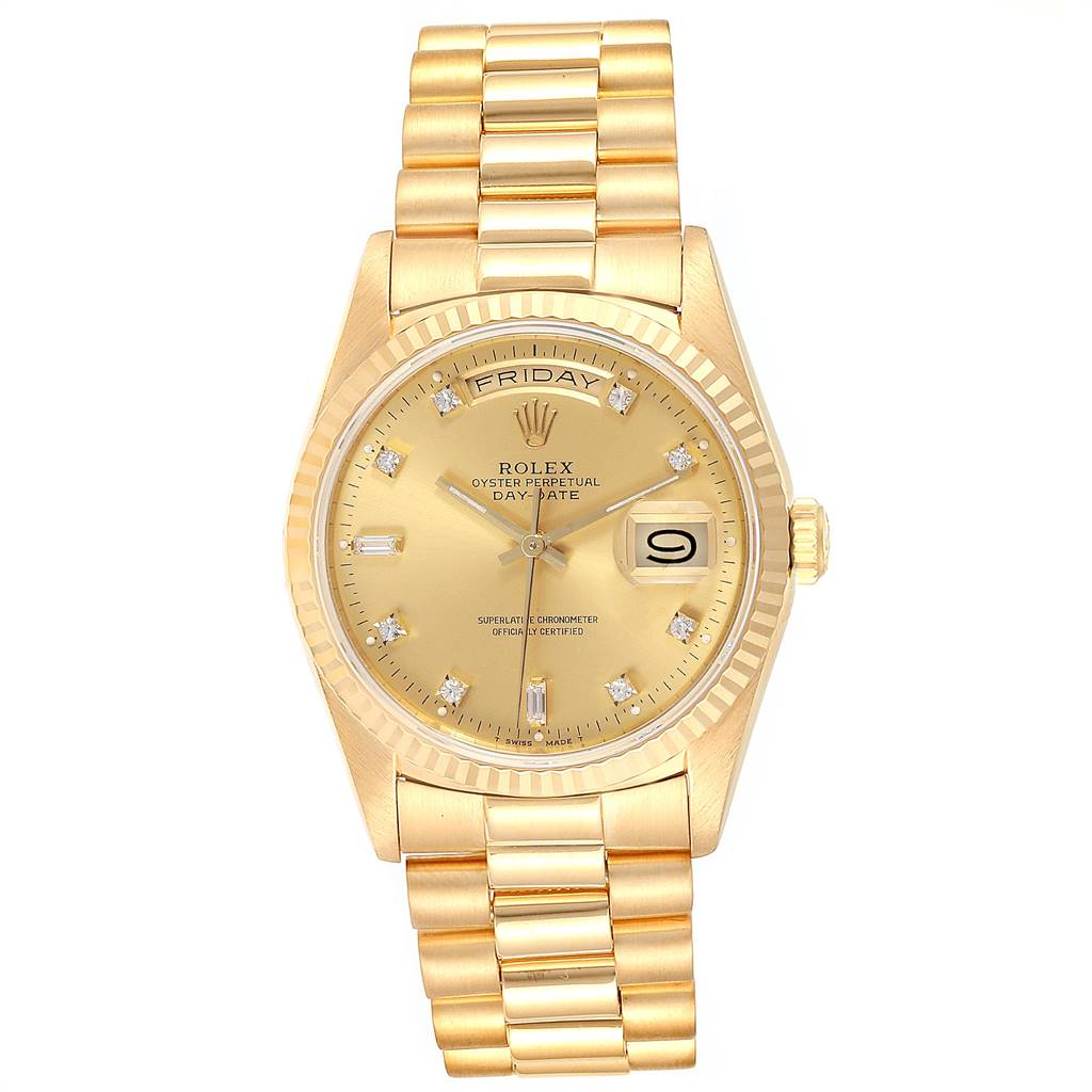 Rolex President Day-Date Yellow Gold Diamond Mens Watch 18238 Box Papers SwissWatchExpo