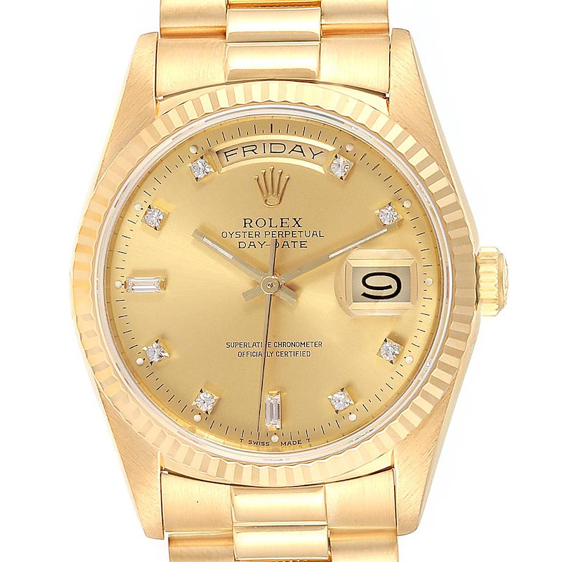 Rolex President Day-Date Yellow Gold Diamond Mens Watch 18238 Box Papers SwissWatchExpo
