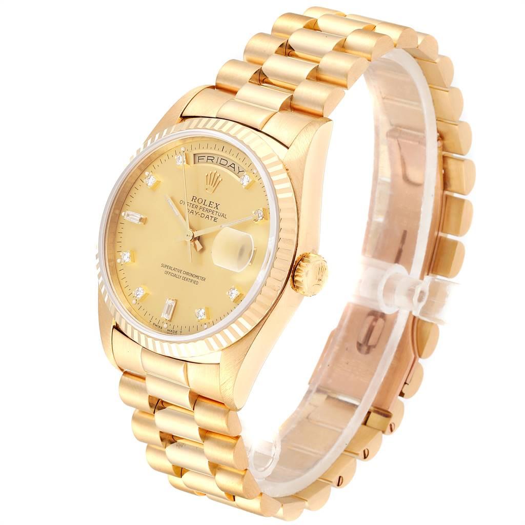 24153 Rolex President Day-Date Yellow Gold Diamond Mens Watch 18238 Box Papers SwissWatchExpo