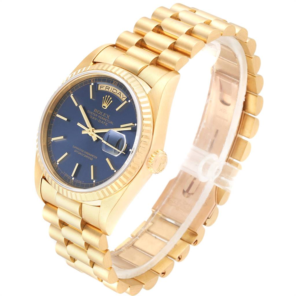 Rolex President Day-Date 36 Yellow Gold Blue Dial Mens Watch 18238 SwissWatchExpo