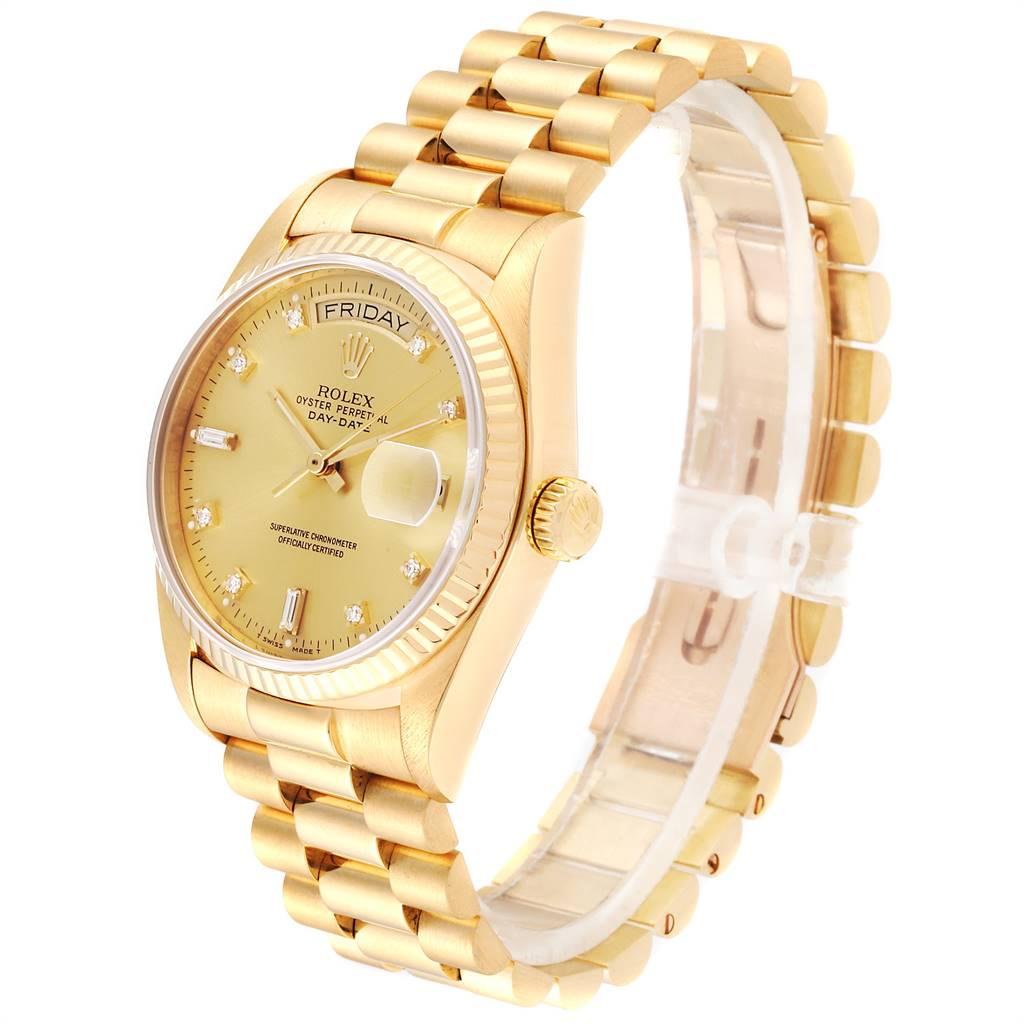 24112 Rolex President Day-Date 18k Yellow Gold Diamond Mens Watch 18038 SwissWatchExpo
