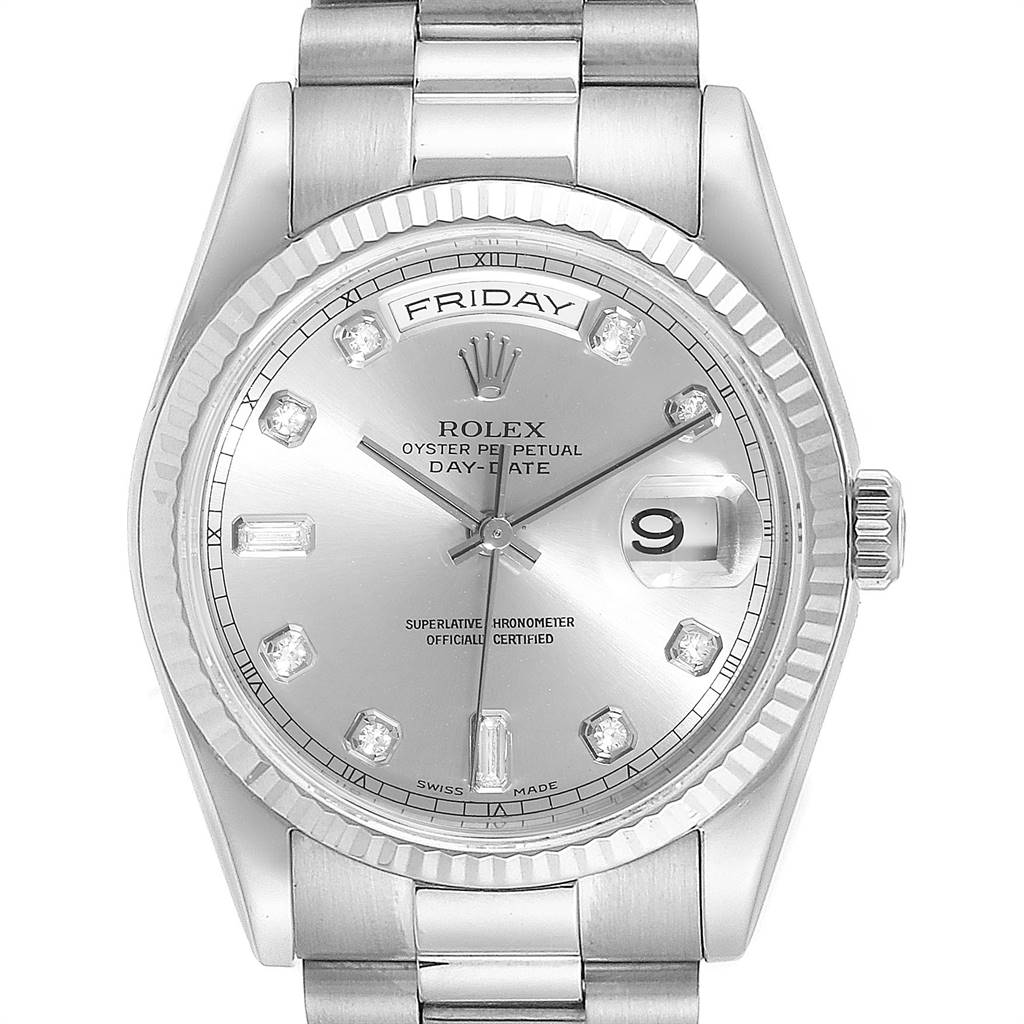 Rolex President Day-Date 18k White Gold Diamond Mens Watch 118239
