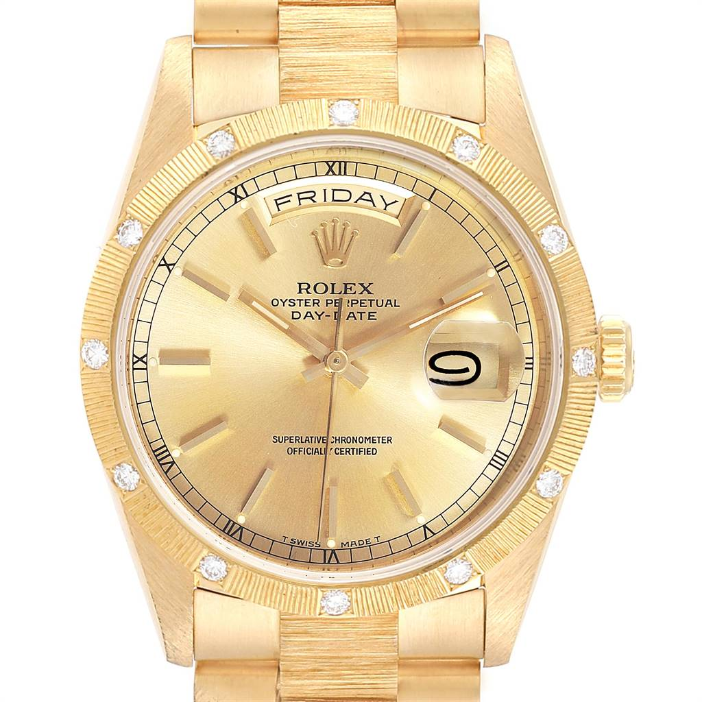 Rolex President Day-Date Yellow Gold Diamond Mens Watch 18308 Box Papers