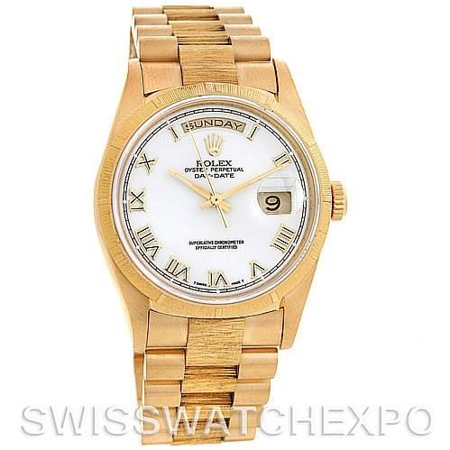 2630 Rolex President Mens 18k Yellow Gold 18248 Bark Finish SwissWatchExpo