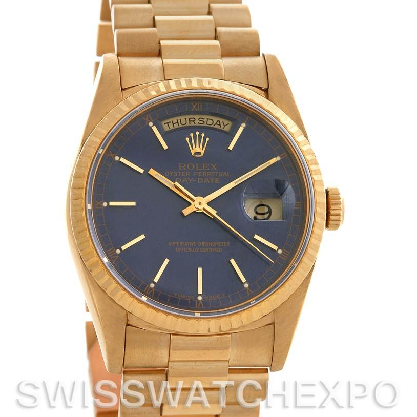 2590 Rolex President Mens 18k Yellow Gold 18238 yr1989-1990 SwissWatchExpo