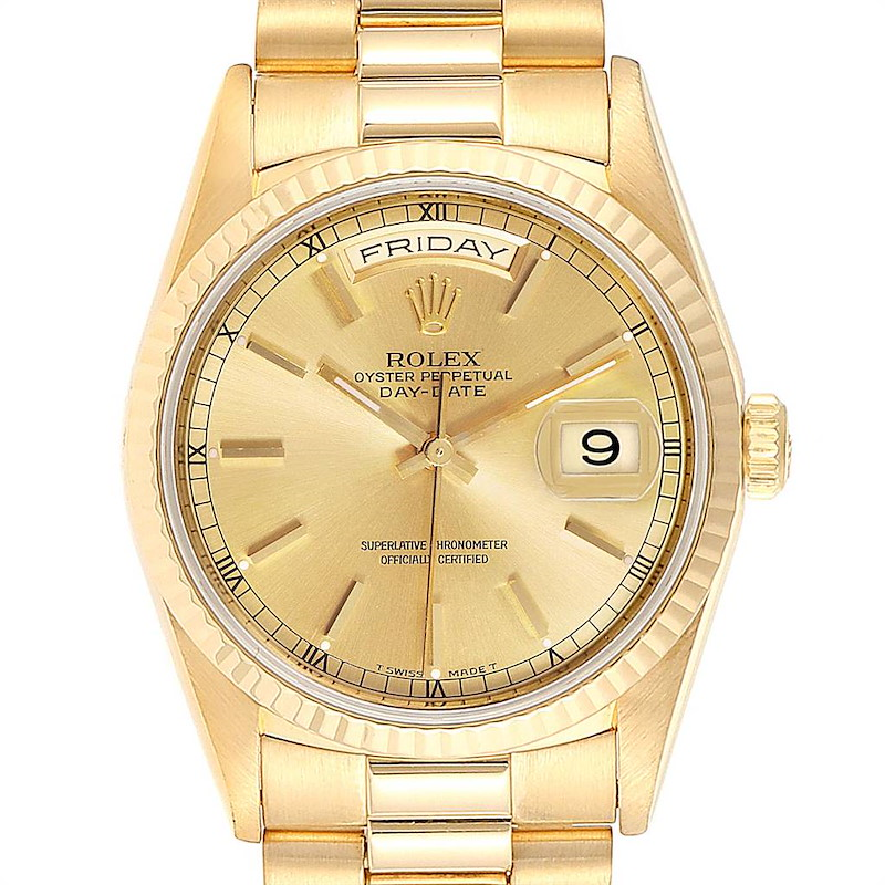 Rolex President Day-Date 36 Yellow Gold Mens Watch 18238 Box Papers SwissWatchExpo