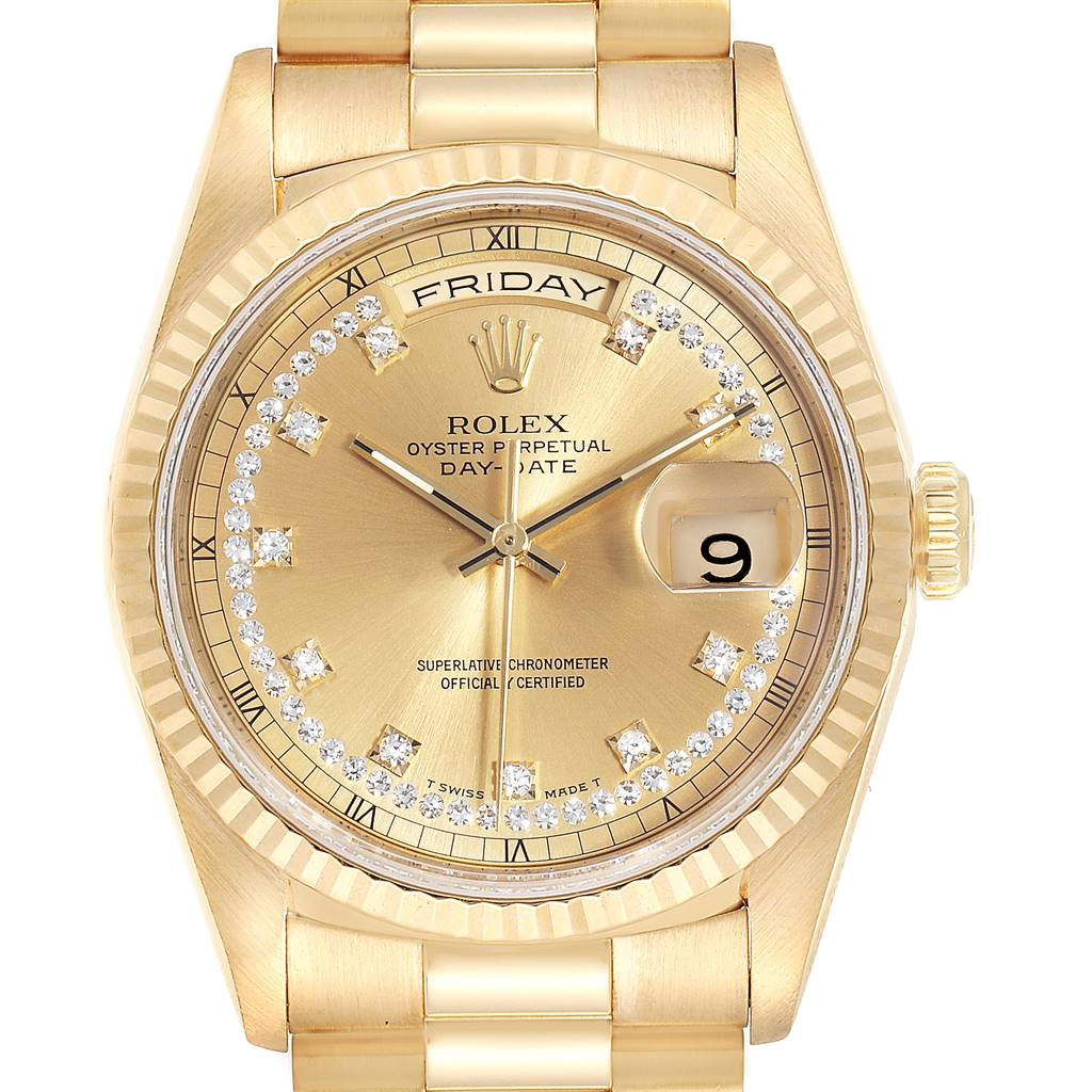 24982 Rolex President Day-Date Yellow Gold String Diamond Dial Mens Watch 18238 SwissWatchExpo