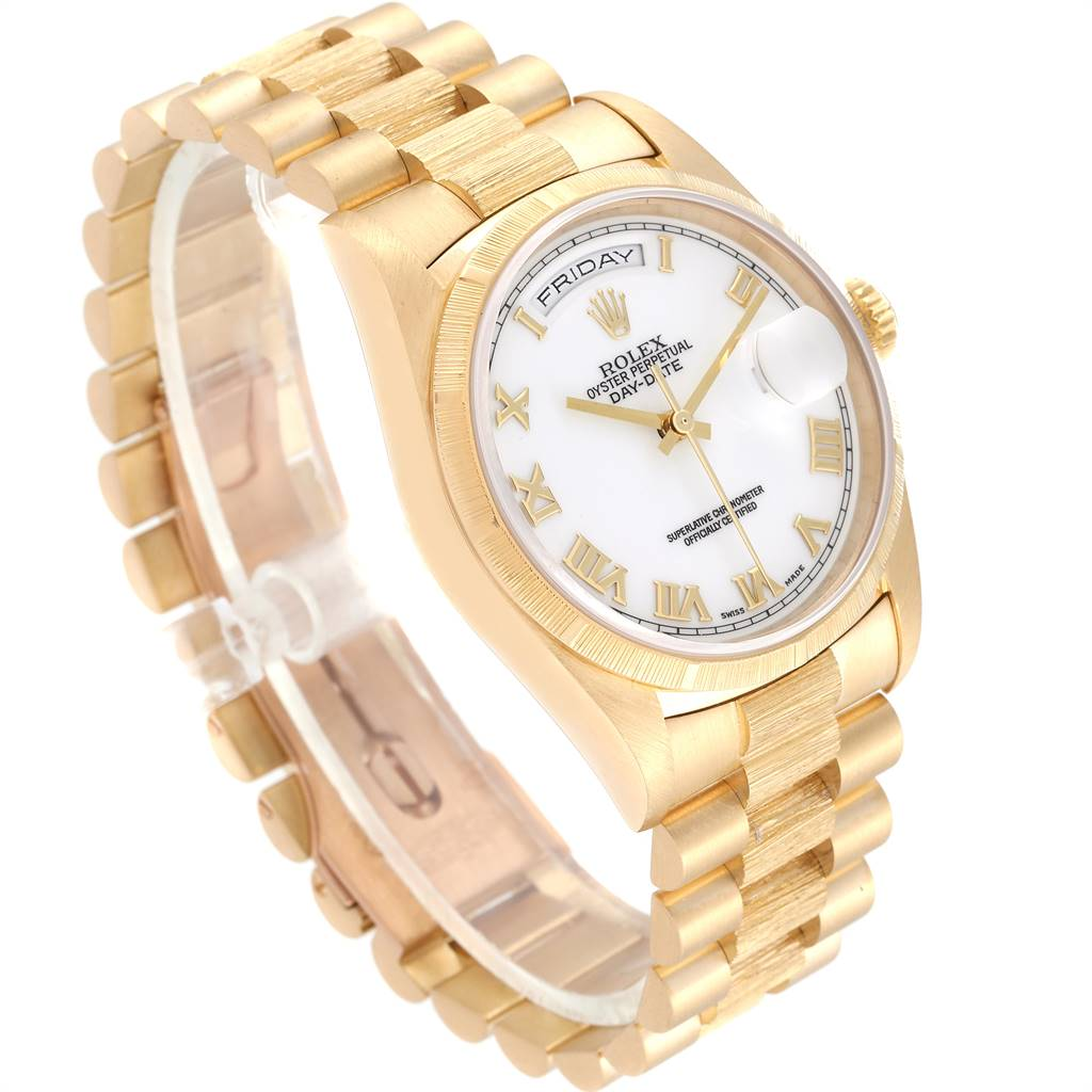 Rolex Day-Date President Yellow Gold White Dial Mens Watch 18248 SwissWatchExpo