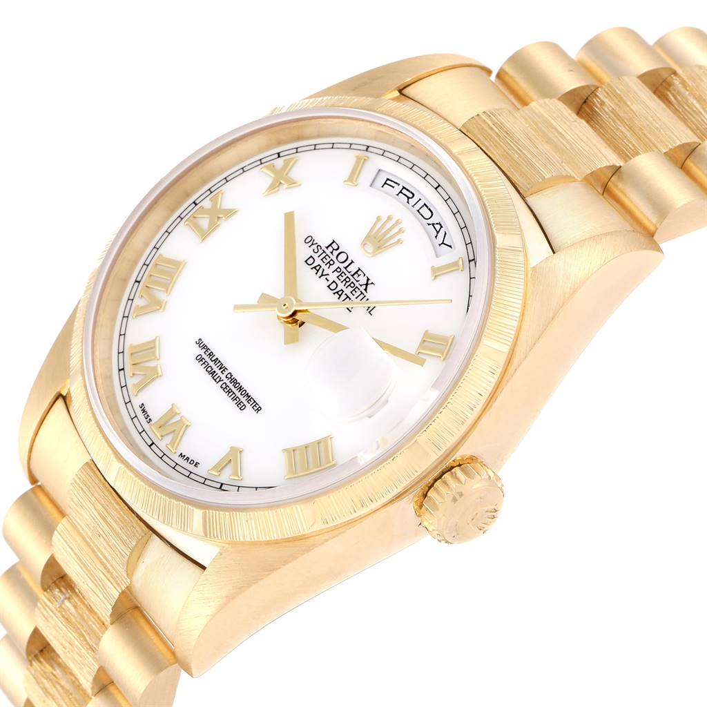 25127 Rolex Day-Date President Yellow Gold White Dial Mens Watch 18248 SwissWatchExpo