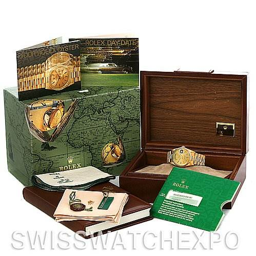 2651 Rolex President Mens 18k Y Gold 18238 yr1992 Box Papers SwissWatchExpo