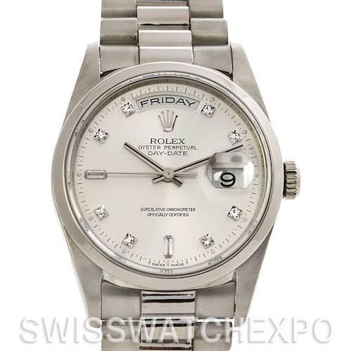 Photo of Rolex  President Platinum Diamond Watch 18206 Box Papers