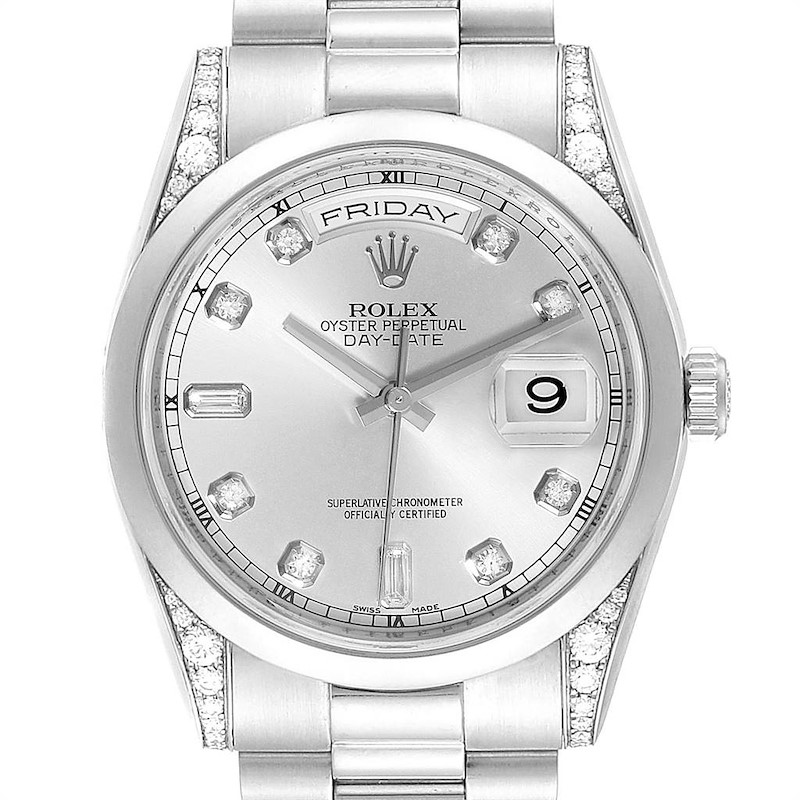 Rolex President Day-Date Platinum Diamond Mens Watch 118296 SwissWatchExpo
