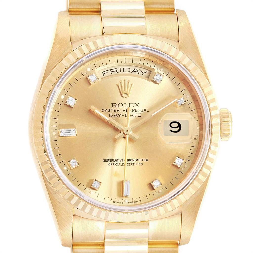 Photo of Rolex President Day-Date 36 Yellow Gold Diamonds Mens Watch 18238