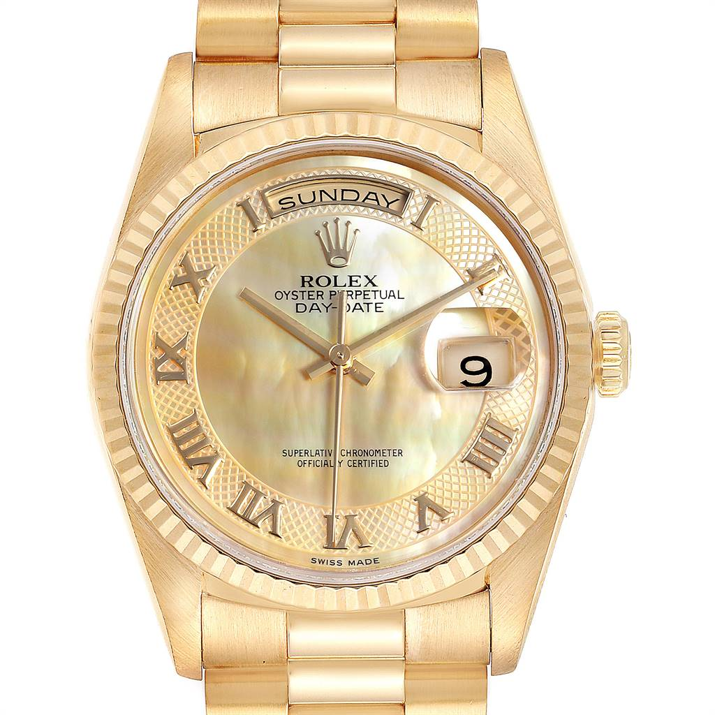 Rolex President Day-Date Yellow Gold Decorated MOP Dial Mens Watch 18238