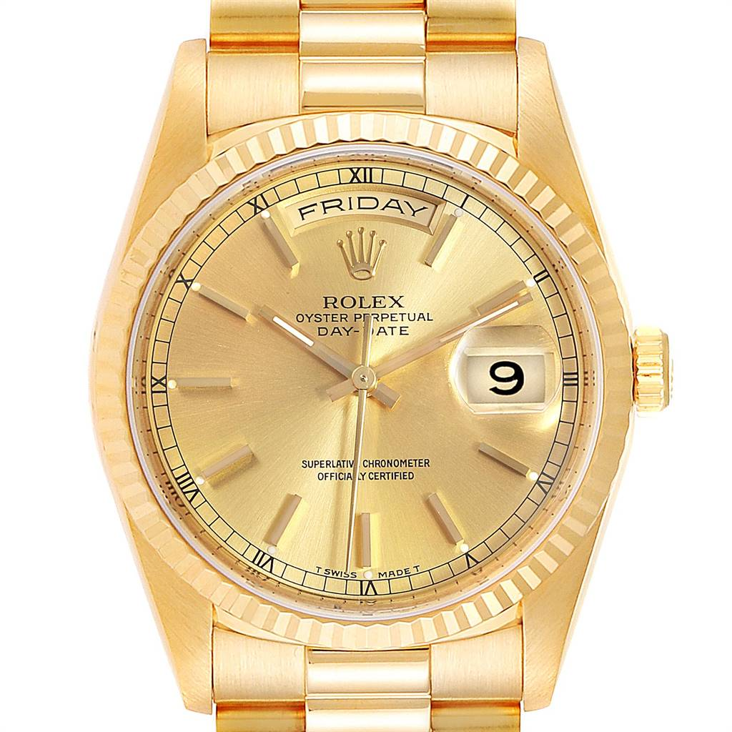 23653 Rolex President Day-Date 36 Yellow Gold Champagne Dial Mens Watch 18238 SwissWatchExpo