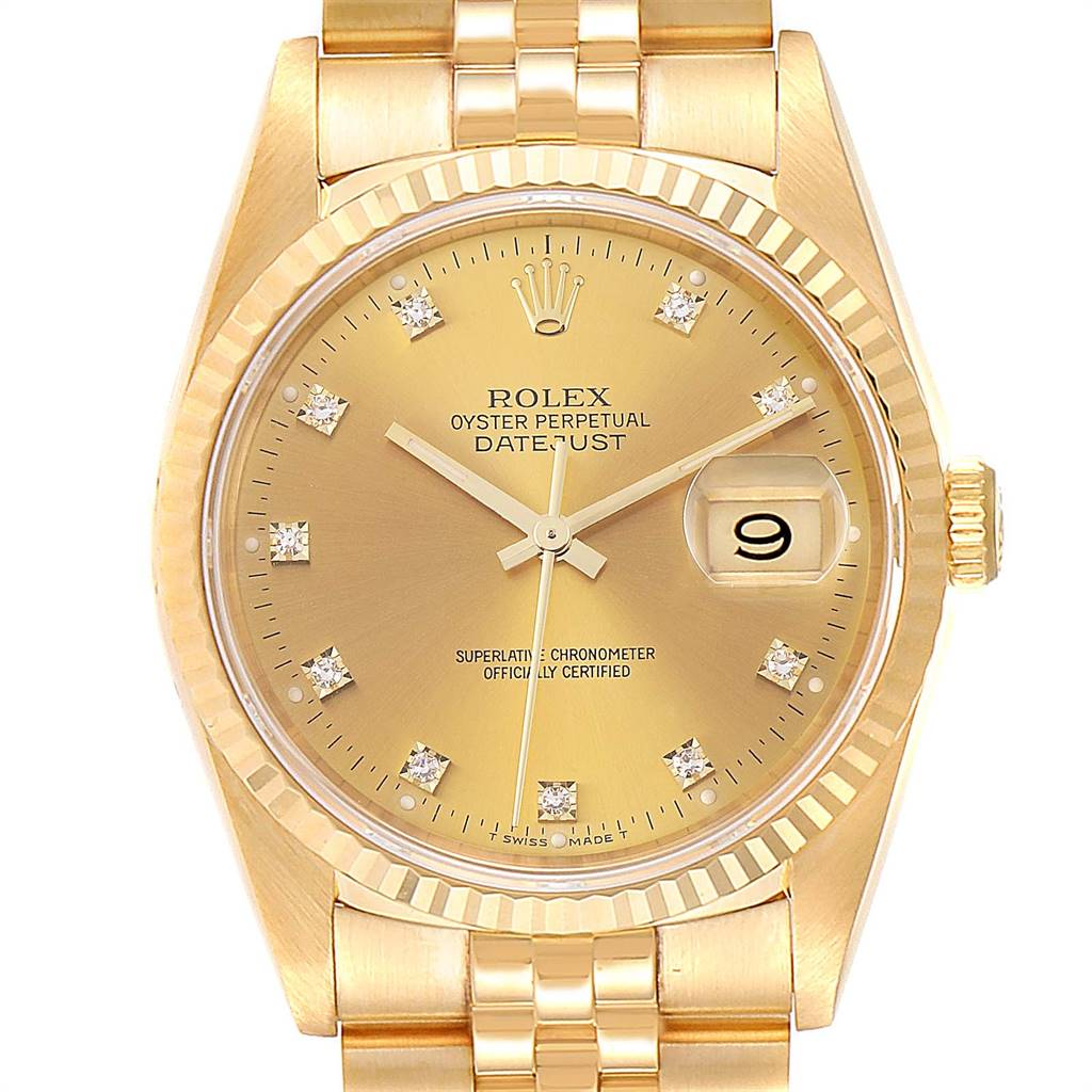 Rolex Datejust 36 Yellow Gold Diamond Dial Automatic Mens Watch 16238 Unworn