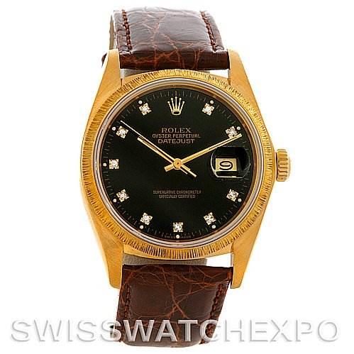 4004 Rolex President Vintage 18k Yellow Gold Diamond Dial Watch 16078 SwissWatchExpo