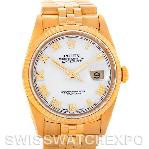 Photo of Rolex Datejust President Mens 18k Yellow Gold 16238 Watch