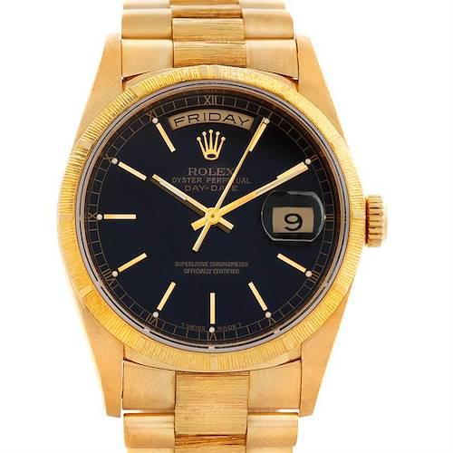 Photo of Rolex President Mens 18k Yellow Gold 18248 Bark Finish Watch