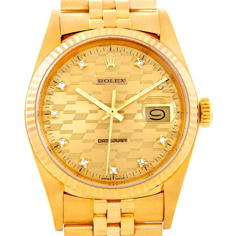 6628 Rolex Datejust Vintage 18K Yellow Gold Watch 16018 Chevrolet Award SwissWatchExpo