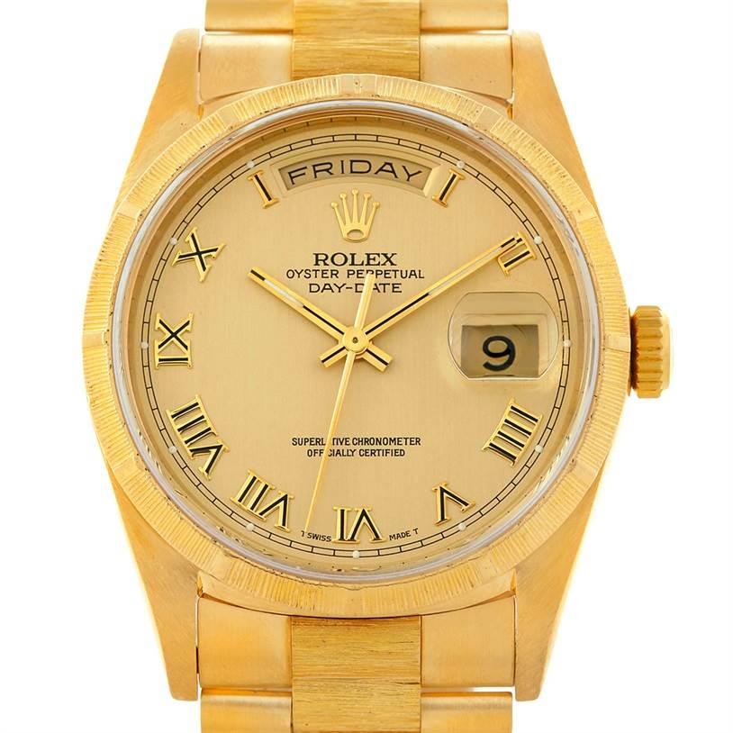 8205 Rolex President Mens 18k Yellow Gold Bark Finish Watch 18248 SwissWatchExpo