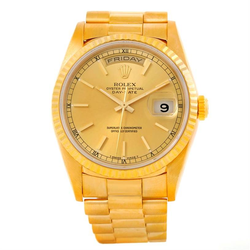 9857 Rolex Day Date President Mens 18k Yellow Gold Watch 18238 SwissWatchExpo