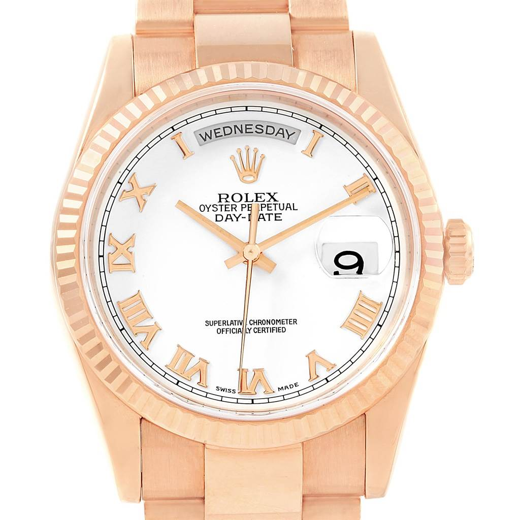 9915p Rolex President Day-Date 36 Everose Gold Mens Watch 118235 SwissWatchExpo
