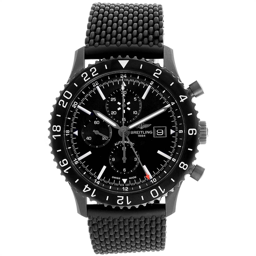 22002 Breitling Chronoliner Blacksteel GMT Chrono Mens Watch M73390 Box Papers SwissWatchExpo