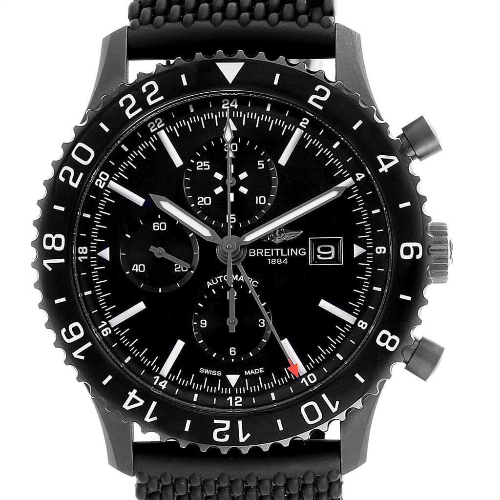Breitling Chronoliner Blacksteel GMT Chrono Mens Watch M73390 Box Papers SwissWatchExpo