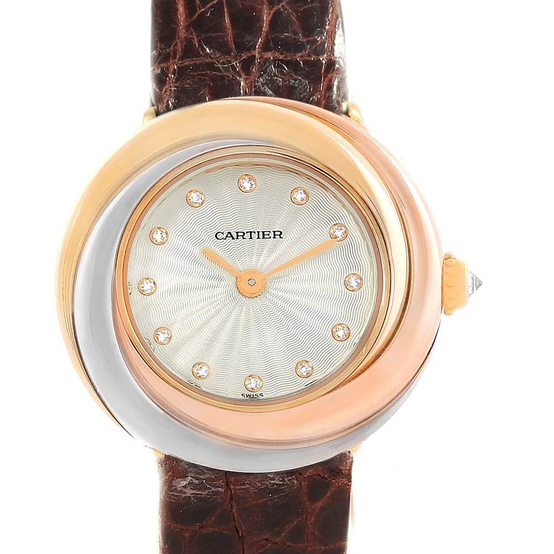 Cartier Trinity Tricolor White Yellow Rose Gold Diamond Ladies Watch W200246 SwissWatchExpo
