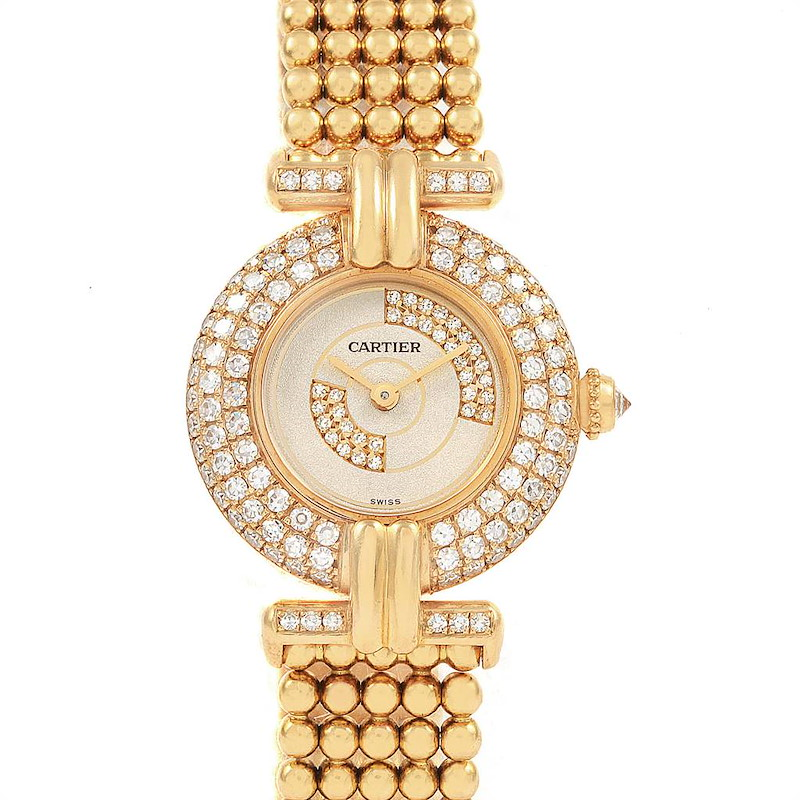 Cartier Colisee 18K Yellow Gold Diamond Limited Edition Ladies Watch 1980 SwissWatchExpo