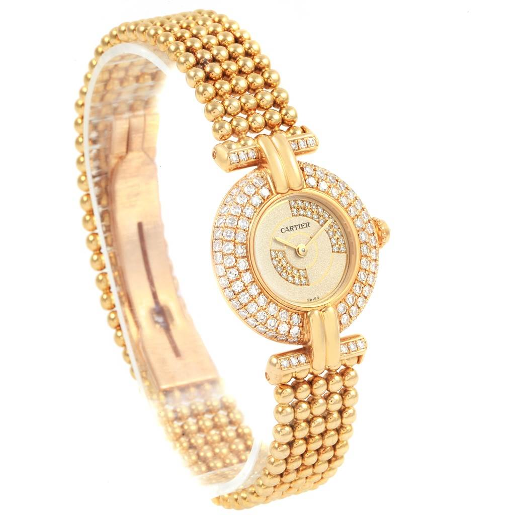21338 Cartier Colisee Yellow Gold Diamond Limited Edition Ladies Watch 1980 SwissWatchExpo