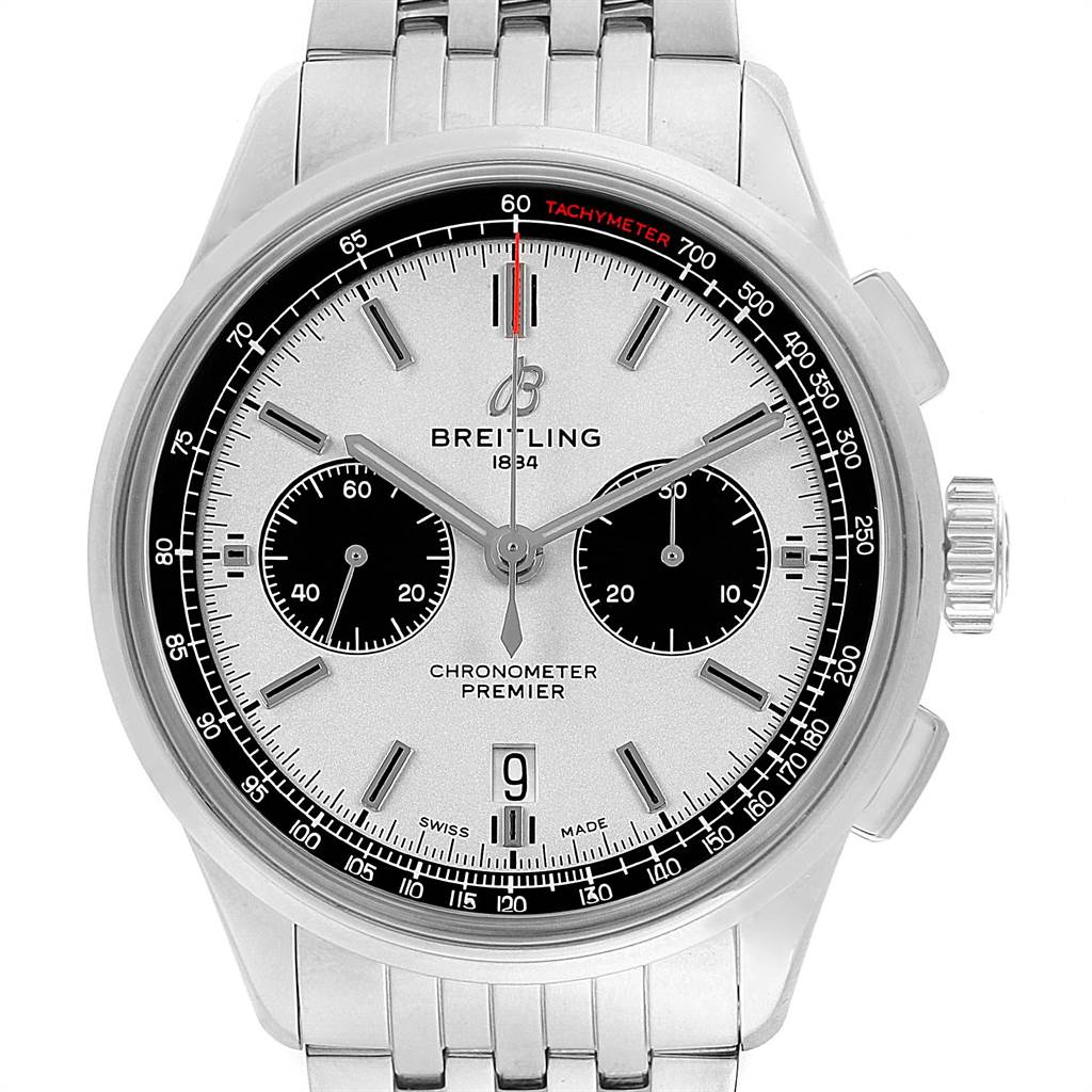 22409 Breitling Premier B01 Chronograph 42 Steel Mens Watch AB0118 Box Papers SwissWatchExpo