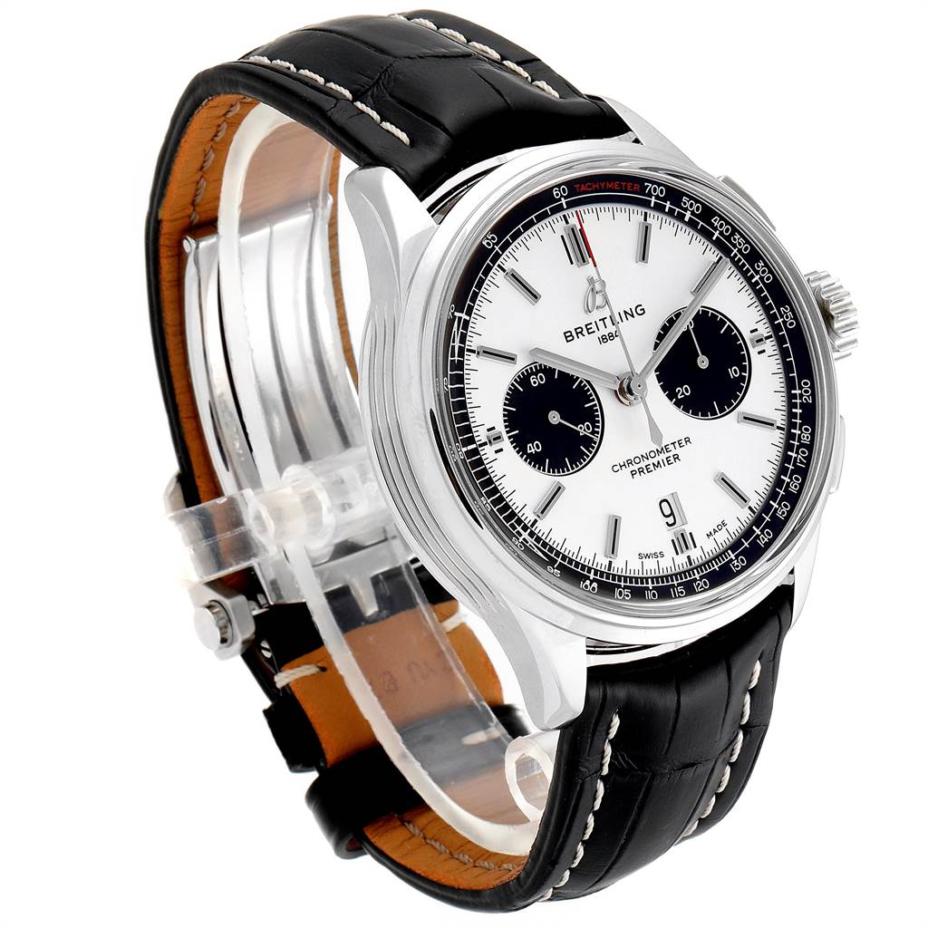 23708 Breitling Premier B01 Chronograph 42 Steel Mens Watch AB0118 Box Papers SwissWatchExpo