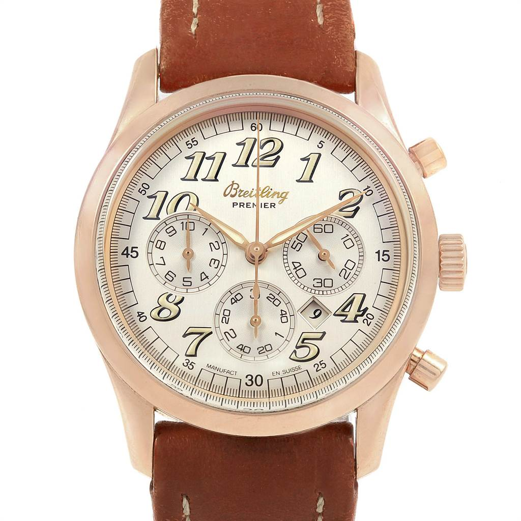 Breitling Navitimer Premier Rose Gold Special Edition Mens Watch H42035 SwissWatchExpo