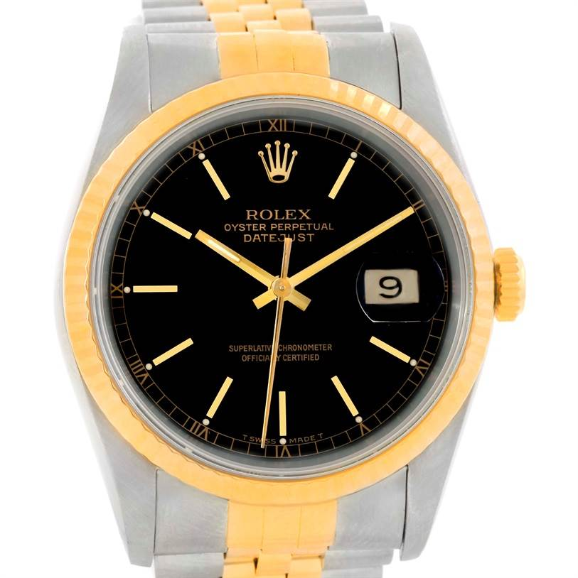 9928 Rolex Datejust Steel 18k Yellow Gold Black Dial Watch 16233 SwissWatchExpo