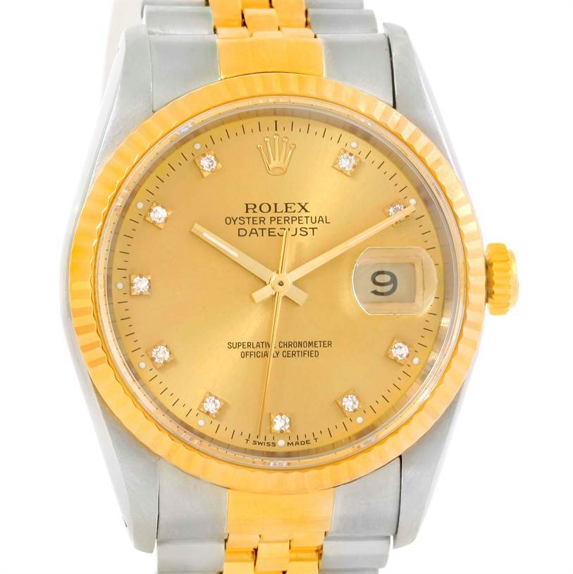 9970 Rolex Datejust Steel 18k Yellow Gold Diamond Dial Watch 16233 SwissWatchExpo