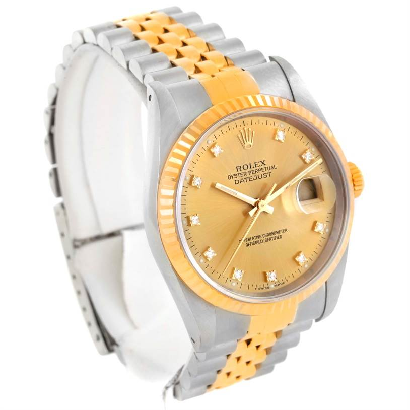 Rolex Datejust Two Tone Diamond Dial Automatic Watch 16233 SwissWatchExpo