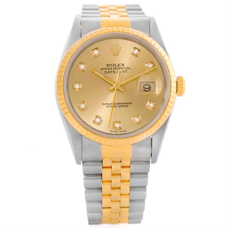 Rolex Datejust Steel Yellow Gold Diamond Dial Automatic Watch 16233 SwissWatchExpo