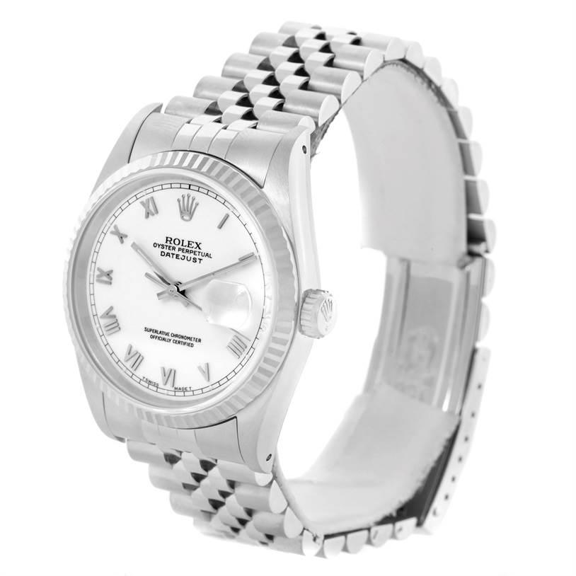 11022 Rolex Datejust Steel 18k White Gold Watch 16234 Box Papers Unworn SwissWatchExpo