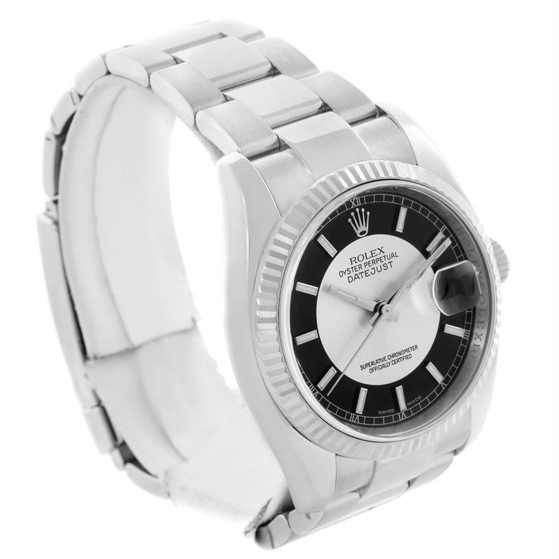 10967 Rolex Datejust Steel White Gold Silver Black Tuxedo Dial Watch 116234 SwissWatchExpo