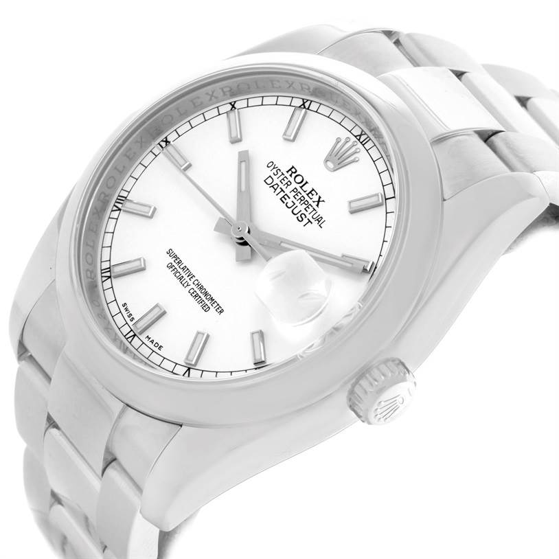 11547 Rolex Datejust Mens Stainless Steel White Dial Watch 116200 SwissWatchExpo