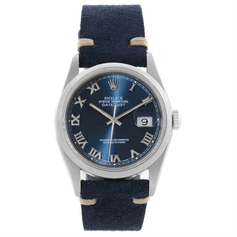 rolex datejust steel blue roman dial leather strap mens