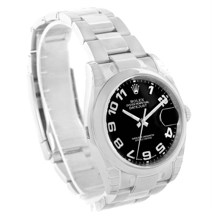 11738 Rolex Datejust Steel Black Concentric Dial Mens Watch 116200 Unworn SwissWatchExpo