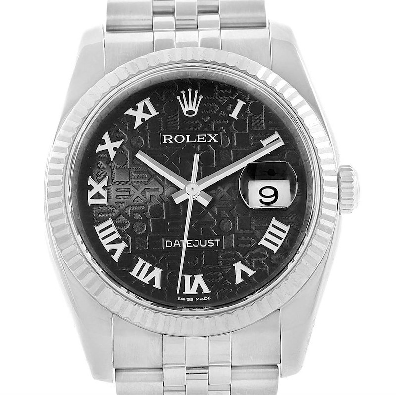 Rolex Datejust 36 Steel White Gold Black Roman Dial Mens Watch 116234 SwissWatchExpo