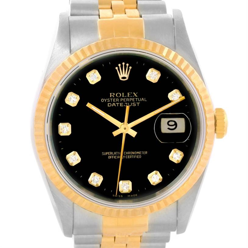 11347 Rolex Datejust Steel 18K Yellow Gold Black Diamond Dial Watch 16233 SwissWatchExpo