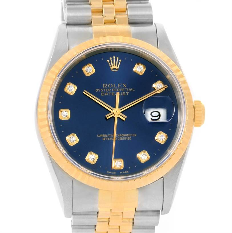 12316 Rolex Datejust Steel 18K Yellow Gold Blue Diamond Dial Watch 16233 SwissWatchExpo